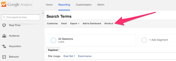 Shortcut feature in regular Google Analytics report