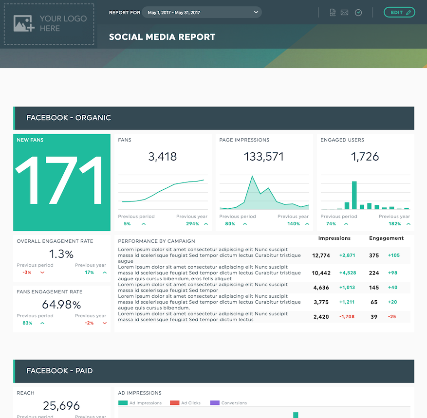Client Report Templates Get Your Clients To Keep Coming Back DashThis - Social media report template