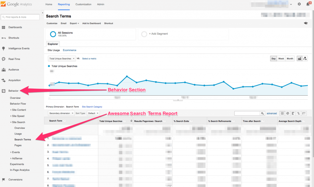 Search Terms report in Google Analytics