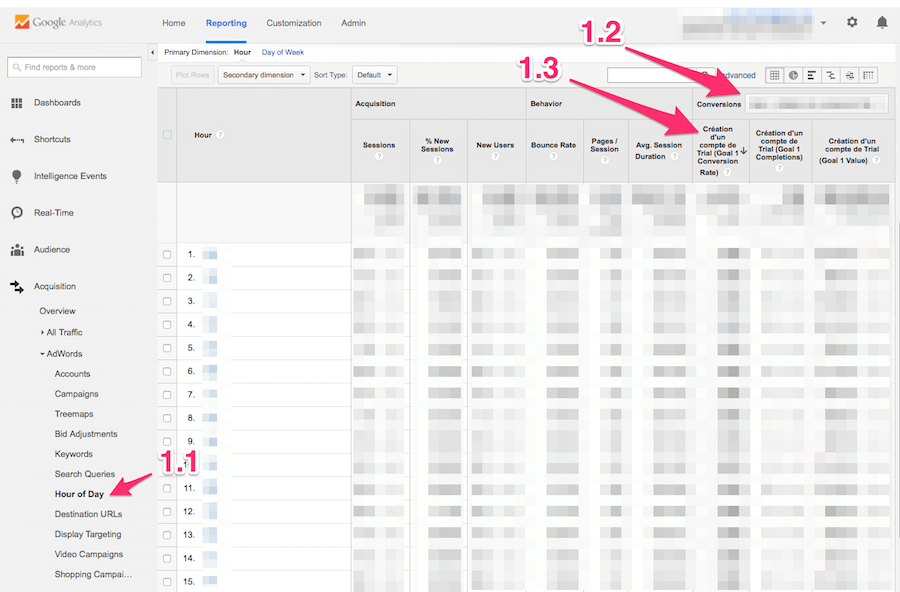 AdWords Hour of Day Report in Google Analytics