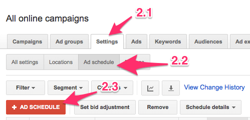 Creating a new ad schedule in Google Adwords
