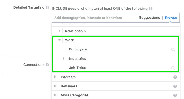 "Facebook Ads ""employer"" targeting option"