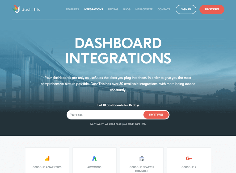 marketing dashboard data sources pages