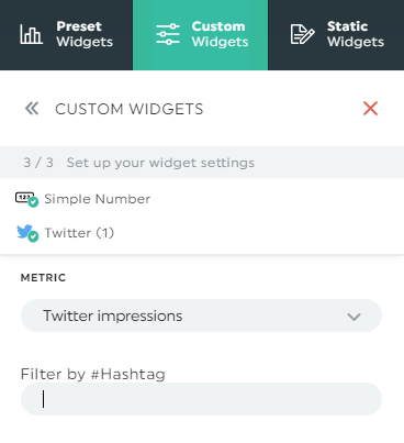 How to filter twitter impressions by hashtag