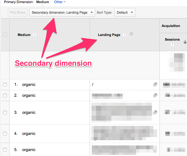 Add secondary dimension on data table in google analytics